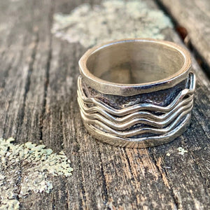 Sterling Silver Wave Spinner Ring