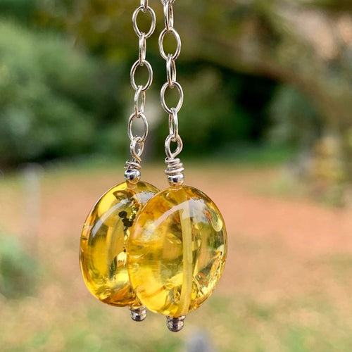 Baltic Amber and Sterling Chain Earrings, Rowena Watson Designs