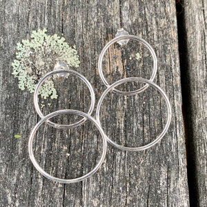 Sterling Silver Double Hoop Stud Earrings