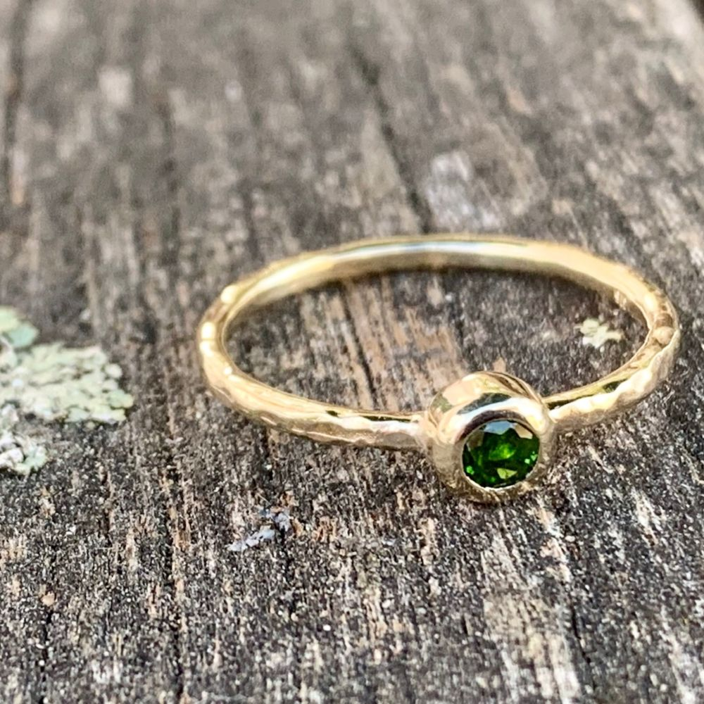9ct Gold and Faceted Chrome Diopside Ring, Rowena Watson Designs