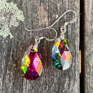 Swarovski Teardrop Earrings, Rainbow