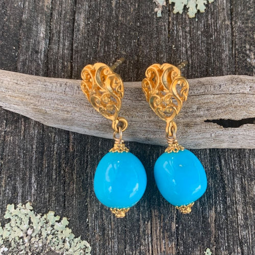 Sleeping Beauty Turquoise and Gold Vermaille Earrings, Rowena Watson Designs