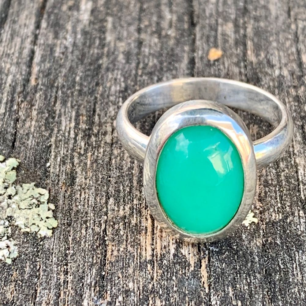 Small Oval Chrysoprase Ring, Rowena Watson Designs