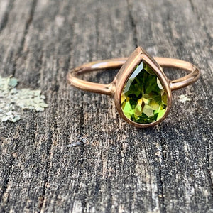 9ct Rose Gold and Teardrop Peridot Ring, Rowena Watson Designs