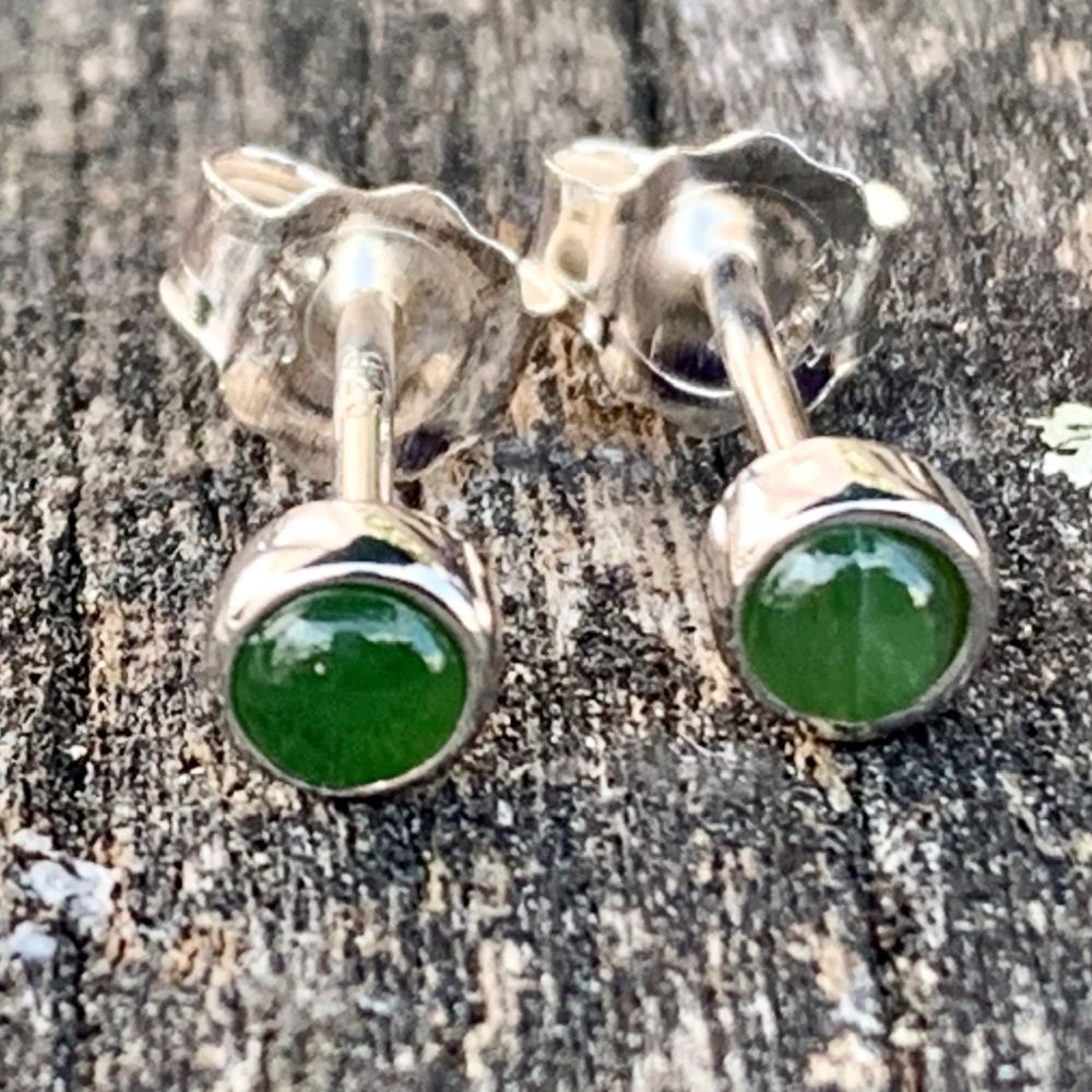 Small Round Stud Earrings, New Zealand Greenstone