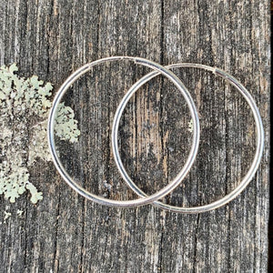 Sterling Silver Endless Hoop Earrings, 26.4 mm