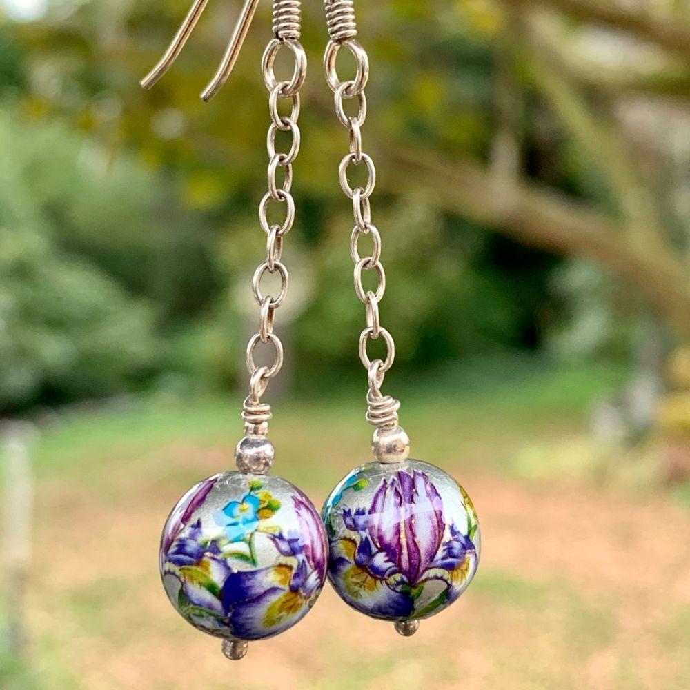 Silver Japanese Decal Bead Earrings, Rowena Watson Designs