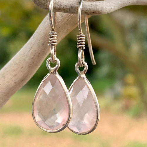 Rose Quartz Drop Earrings, Rowena Watson Designs