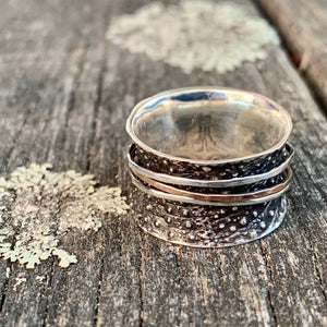 Canterbury Scree Sterling Silver & 9ct Rose Gold Spinner Ring, Rowena Watson Designs