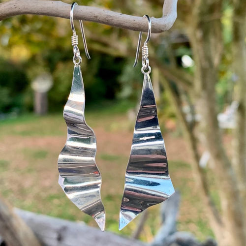 Corrugated Sterling Silver Earrings