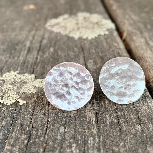 Sterling Silver Beaten Circle Stud Earrings, Rowena Watson Designs