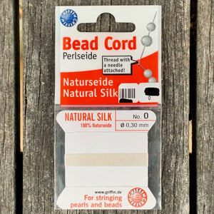 Natural Silk Bead Cord, White, No. 0