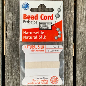 Natural Silk Bead Cord, White, No. 1