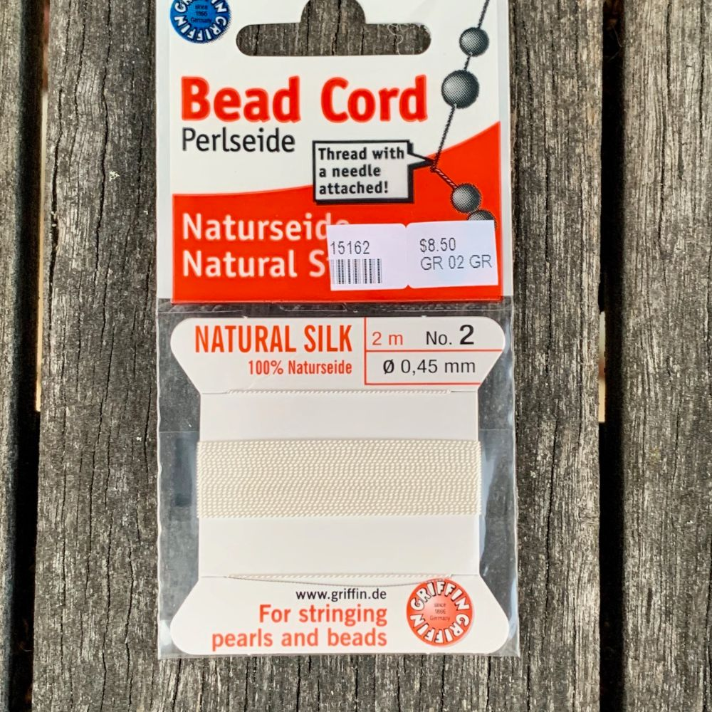 Natural Silk Bead Cord, White, No. 2
