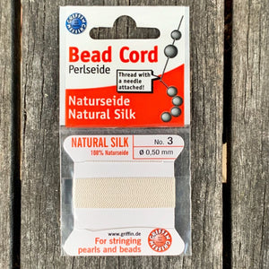 Natural Silk Bead Cord, White, No. 3