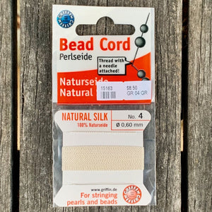 Natural Silk Bead Cord, White, No. 4