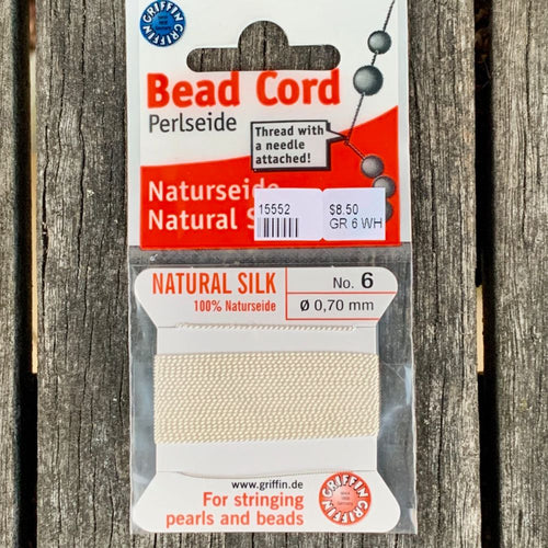 Natural Silk Bead Cord, White, No. 6