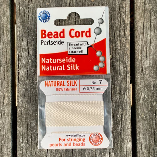 Natural Silk Bead Cord, White, No. 7
