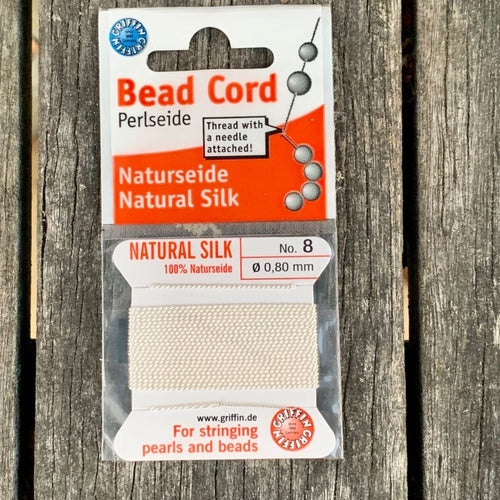 Natural Silk Bead Cord, White, No. 8