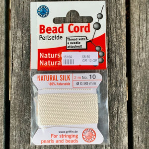 Natural Silk Bead Cord, White, No. 10