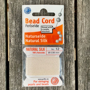 Natural Silk Bead Cord, White, No. 12