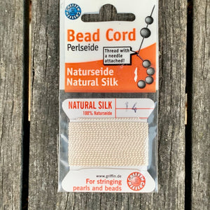 Natural Silk Bead Cord, White, No. 14