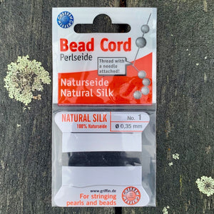 Natural Silk Bead Cord, Black, No. 1