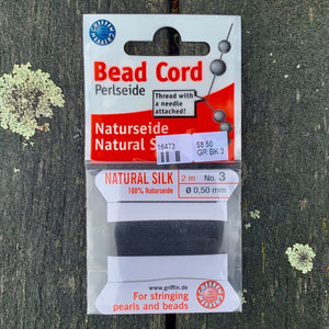 Natural Silk Bead Cord, Black, No. 3