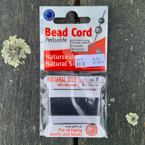 Natural Silk Bead Cord, Black, No. 5