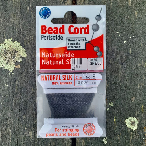 Natural Silk Bead Cord, Black, No. 8