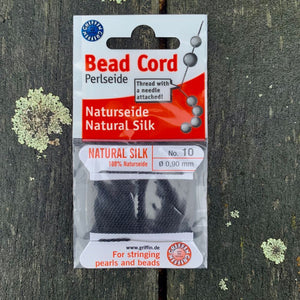 Natural Silk Bead Cord, Black, No. 10