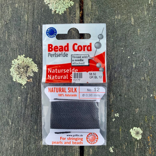 Natural Silk Bead Cord, Black, No. 12