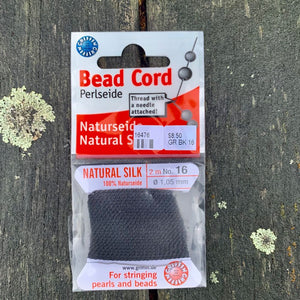 Natural Silk Bead Cord, Black, No. 16