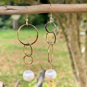 Asymmetrical Freshwater Pearl and Yellow Gold Fill Earrings, Rowena Watson Designs