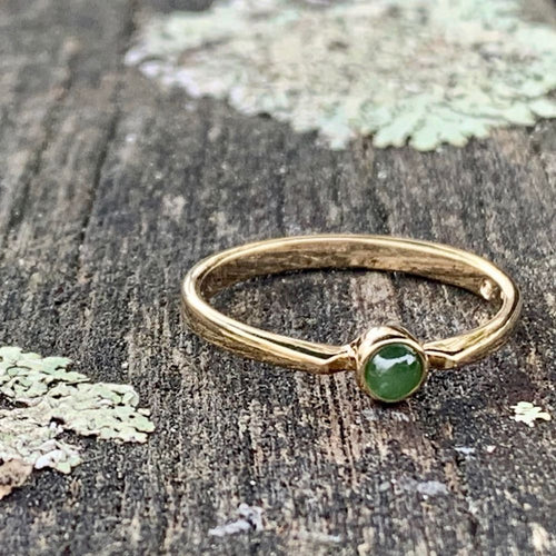 14ct Gold Circle Stacker Ring, New Zealand Greenstone