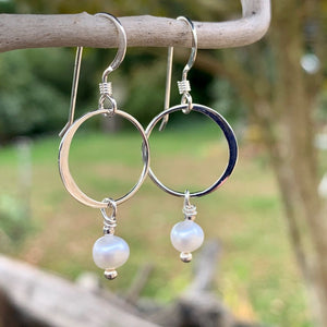 Little Freshwater Pearl and Sterling Loop Earrings, Rowena Watson Designs