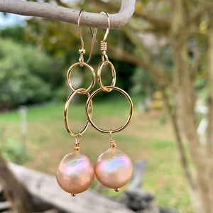 Natural Pink Freshwater Pearl and Yellow Gold Fill Earrings, Rowena Watson Designs