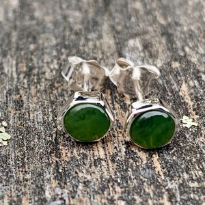 Large Hexagonal Stud Earrings, New Zealand Greenstone