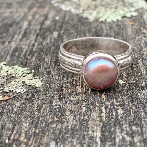 Natural Pink Freshwater Pearl on Ornate Band Ring, Rowena Watson Designs