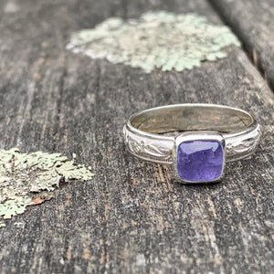 Tanzanite and Sterling Silver Ornate Band Ring, Rowena Watson Designs