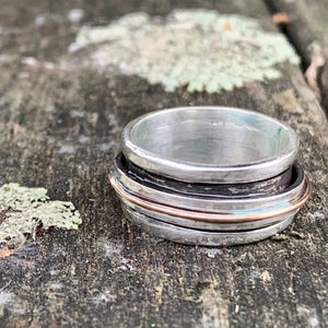 Sterling Silver Spinner Ring with 9ct Rose Gold, Rowena Watson Designs