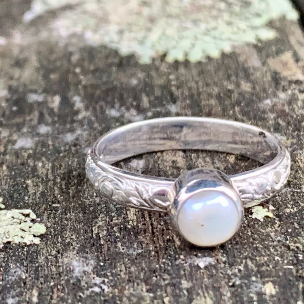 Freshwater Pearl Ring with Ornate Band, Rowena Watson Designs