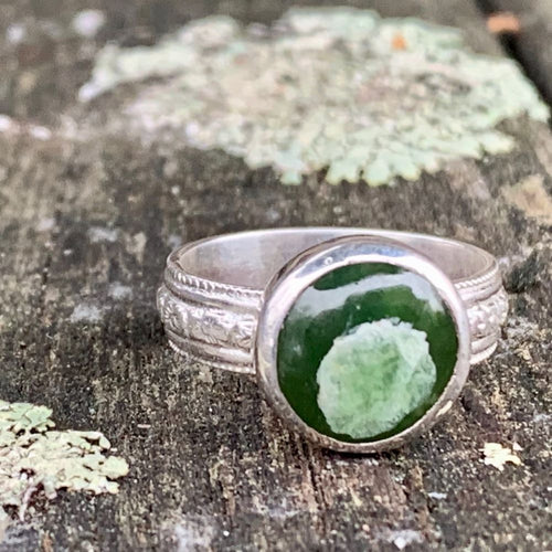 Marsden Flower Greenstone on Ornate Band Ring, Rowena Watson Designs