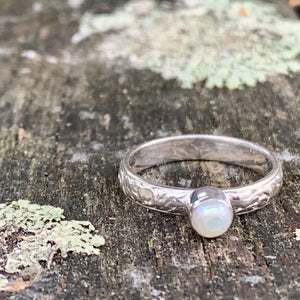 Little Freshwater Pearl Ring with Ornate Band, Rowena Watson Designs