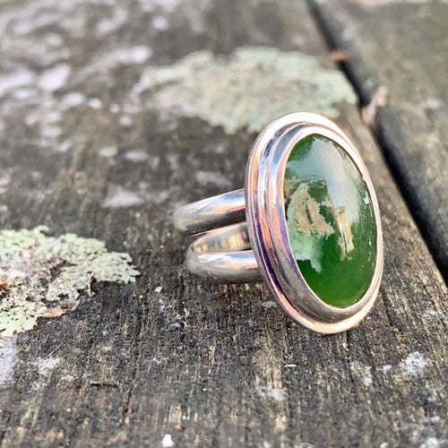 Marsden Flower Greenstone Ring, Rowena Watson Design