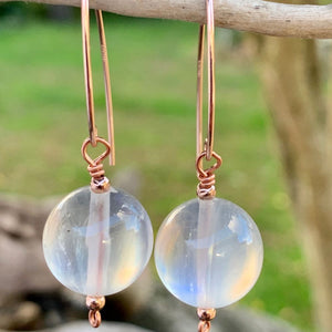 Rainbow Moonstone and Rose Gold Fill Earrings, Rowena Watson Designs
