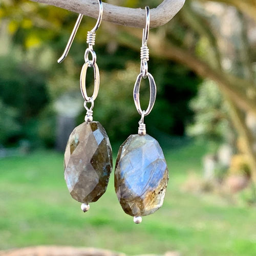 Faceted Labradorite and Sterling Silver Earrings, Rowena Watson Designs