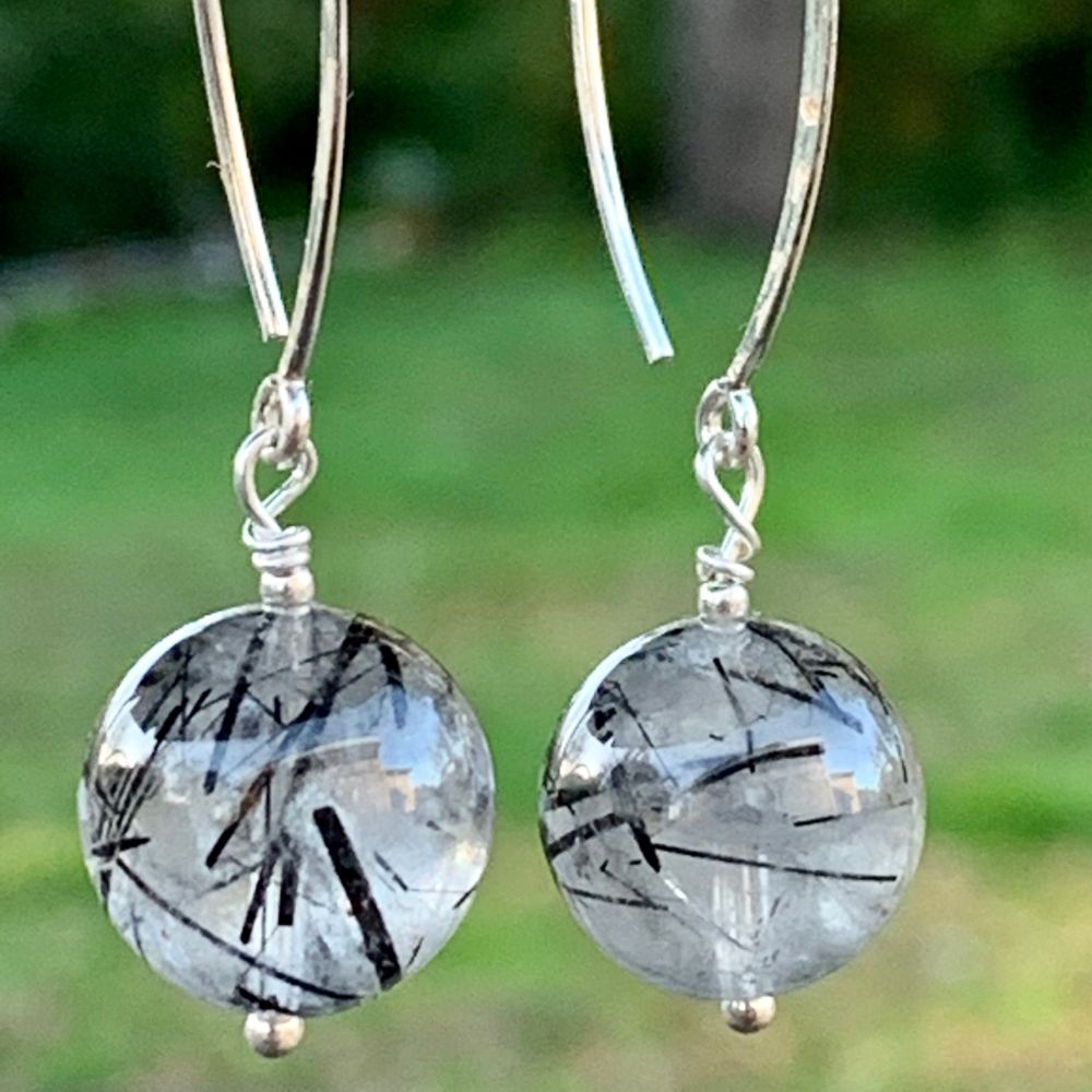 Tourmalinated Quartz and Marquise Earrings, Rowena Watson Designs