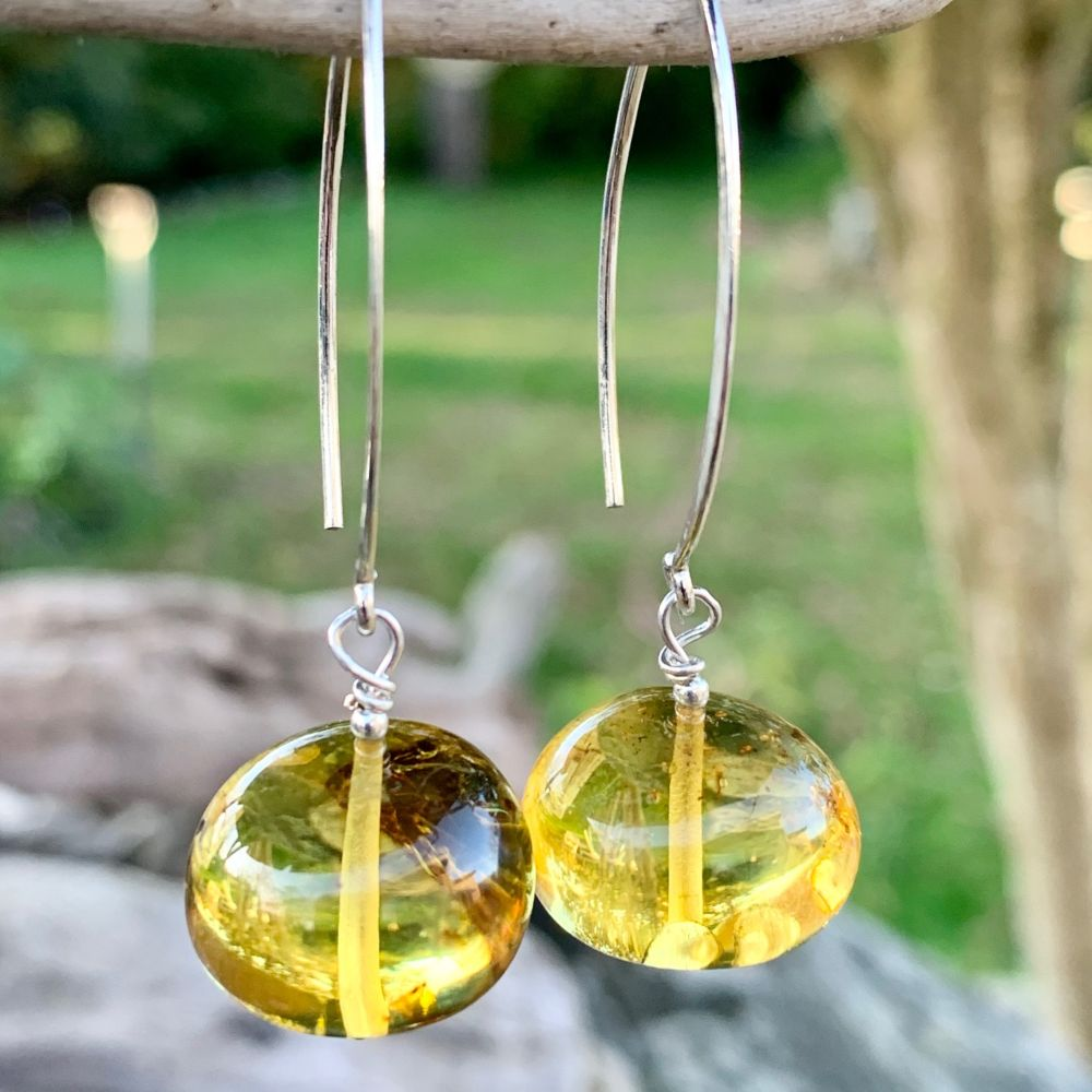 Baltic Amber and Marquise Earrings, Rowena Watson Designs