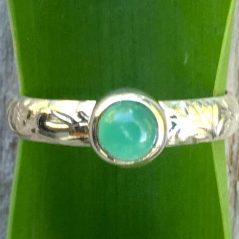 Chrysoprase Ring with Ornate Band, Rowena Watson Designs